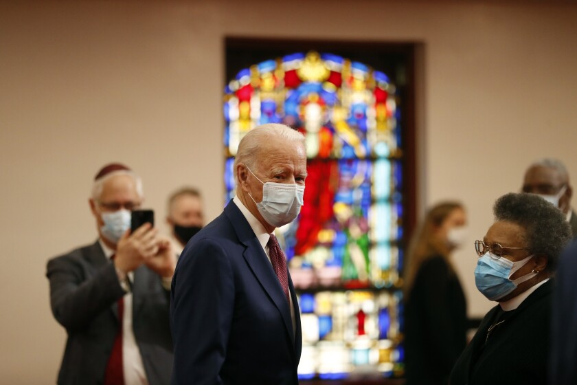 Former Vice President Joe Biden visits Bethel AME Church in Wilmington, Del., on Monday to meet with local black leaders.