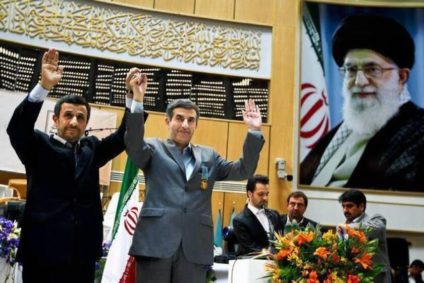 Iranian President Mahmoud Ahmadinejad, left, and chief advisor Esfandiar Rahim Mashaei attend a news conference in Tehran last month.