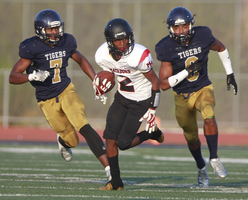 Mount Miguel's Jahiem Allen-Pompey is on track for a record-breaking season in receiving yards.
