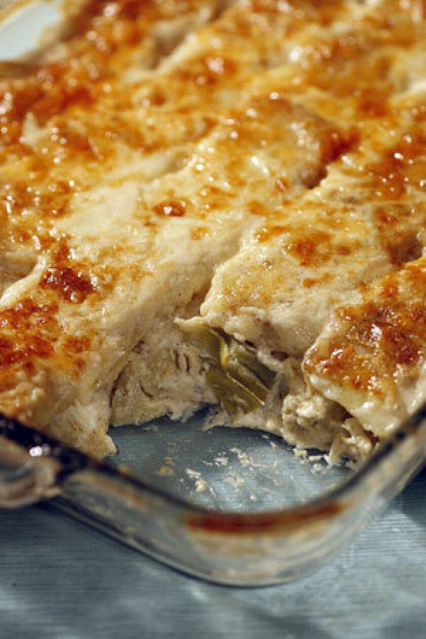 Artichoke and potato gratin.