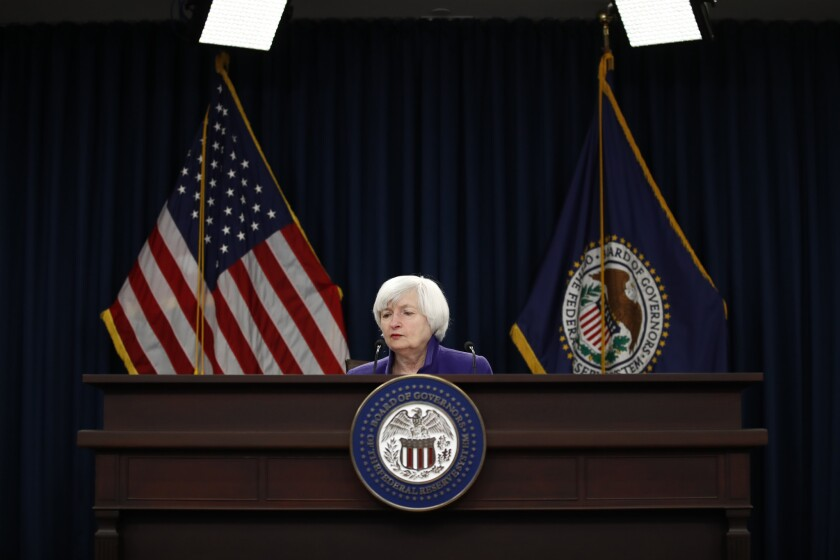 Federal Reserve Chair Janet Yellen speaks during a news conference following the Federal Open Market Committee meeting in Washington, Wednesday, Dec. 13, 2017. Her final meeting as Fed chair was Jan. 31, 2018.