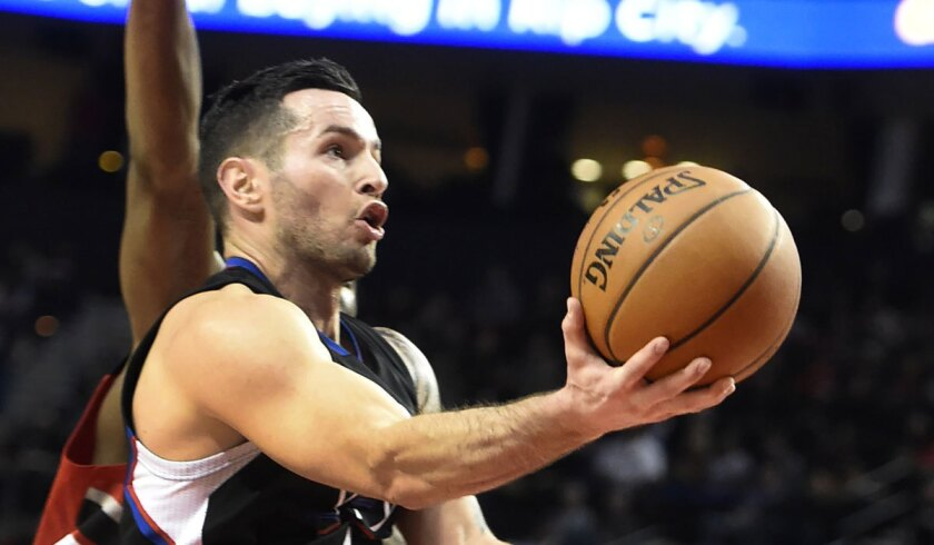 Clippers guard J.J. Redick drives to the basket against Portland on Jan. 6.