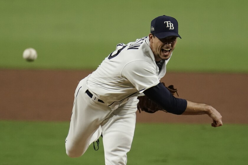 Tampa Bay Rays starting pitcher Charlie Morton throws against the Houston Astros during the sixth inning.