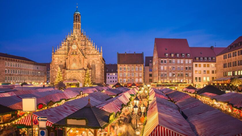Christmas market in the old town of Nuremberg, Germany