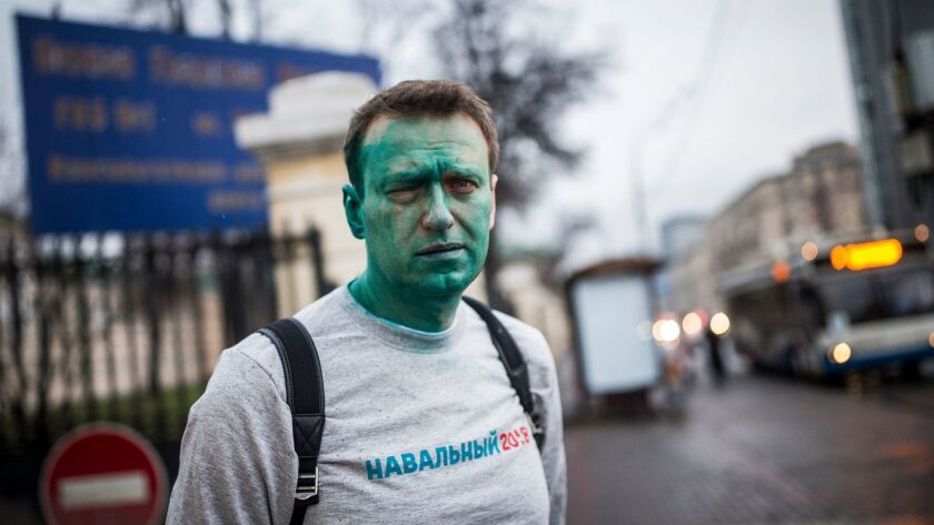 In this photo taken on Thursday, April 27, 2017, Russian opposition leader Alexei Navalny poses for