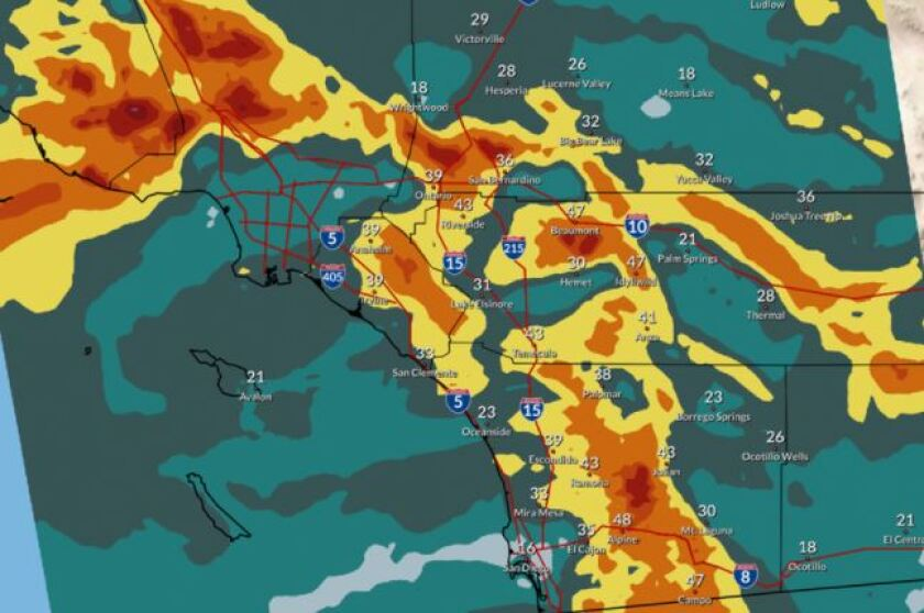 Graphic of forecasted wind gusts in Southern California from the National Weather Service.