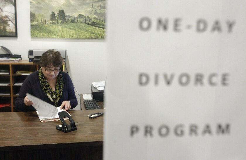One-Day Divorce Program coordinator Valerie Murphy in her office, next to the courtroom, in the Madge Bradley Courthouse in San Diego on Thursday.