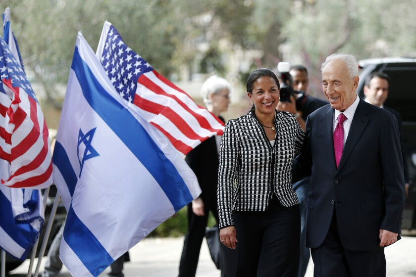 Israeli President Shimon Peres welcomes U.S. National Security Advisor Susan Rice to Jerusalem on Wednesday.