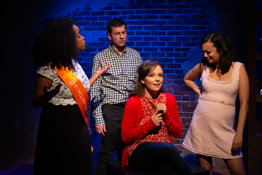 "Andréa Agosto, Tom Zohar, Megan Carmitchel and Jamie Criss (from left) in Diversionary Theatre's ""Significant Other."""