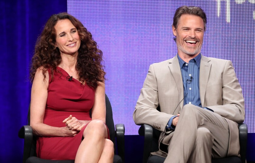 "Andie MacDowell and Dylan Neal, costars on the new Hallmark Channel series, ""Debbie Macomber's Cedar Cove,"" talk about the more chaste boundaries of their show during a Television Critics Assn. press conference at the Beverly Hilton."