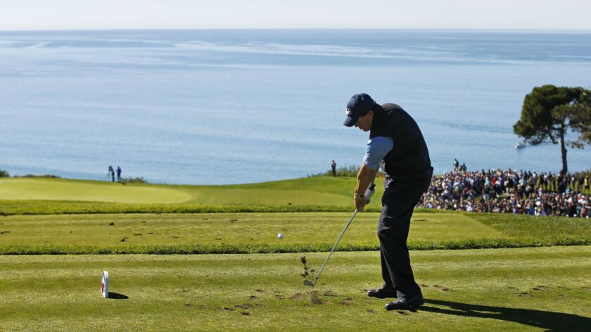 Phil Mickelson tees off on the third hole of the South Course of the Torrey Pines Golf Course during the 2017 Farmers Insurance Open.