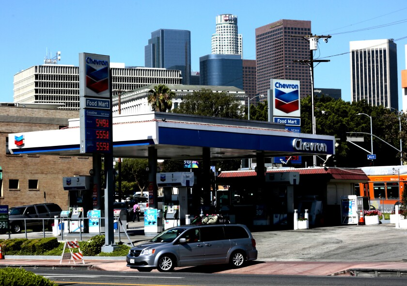 A Chevron station near downtown Los Angeles on July 13.