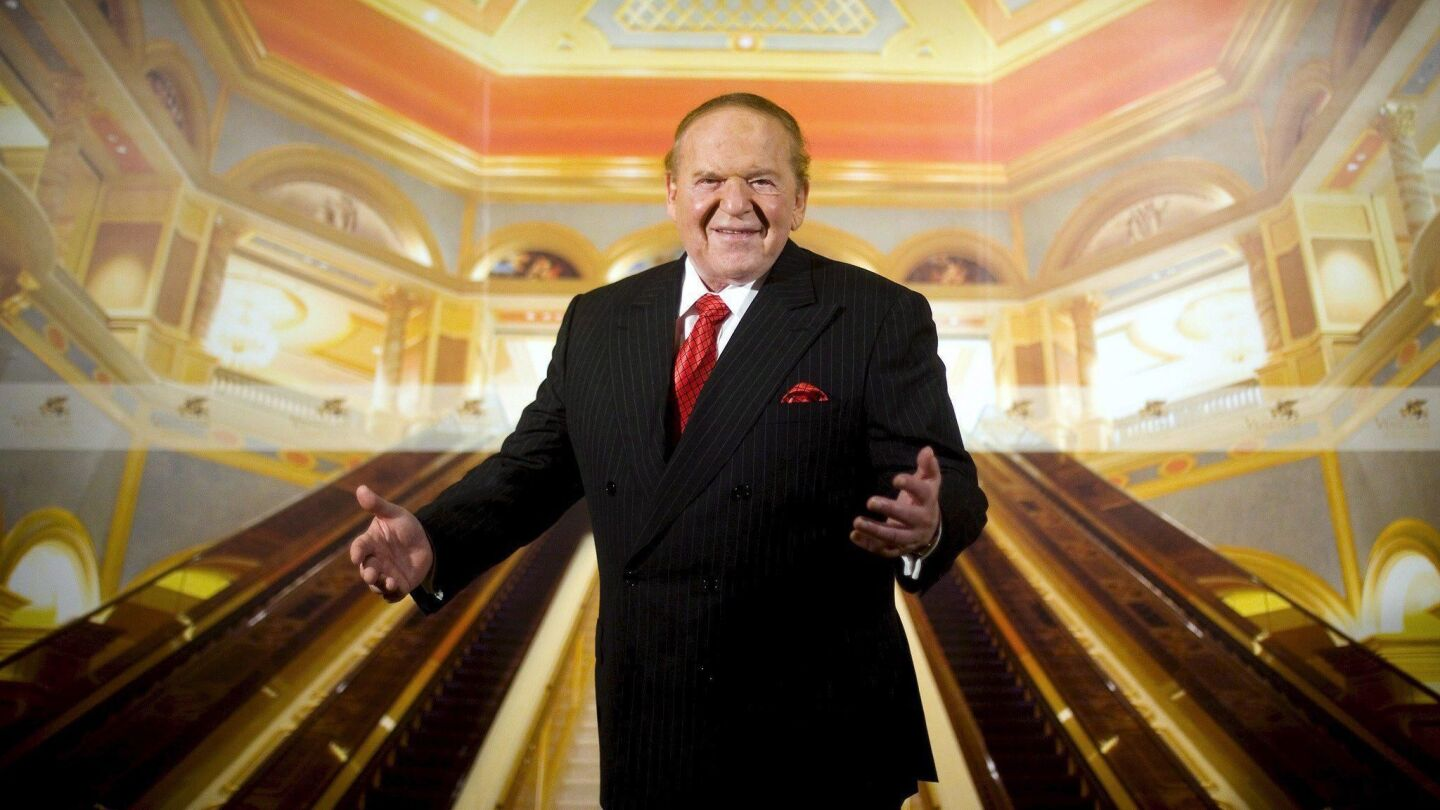 epa01100476 Gaming Tycoon Sheldon Adelson gestures during an interview at the Venetian Macao Resort Hotel, Macao, China, 27 August 2007. The Venetian Macao opens 28 August 2007 being Macao's 27th casino featuring 850 gaming tables and 4100 slot machines at a cost 2.4 billion US dollars. EPA/PAUL HILTON