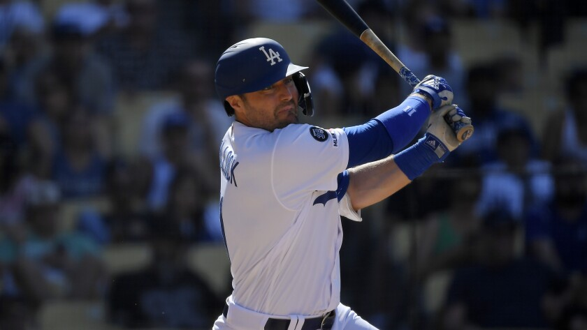 Dodgers' A.J. Pollock bats during a baseball game against the San Diego Padres on Sunday at Dodger Stadium.