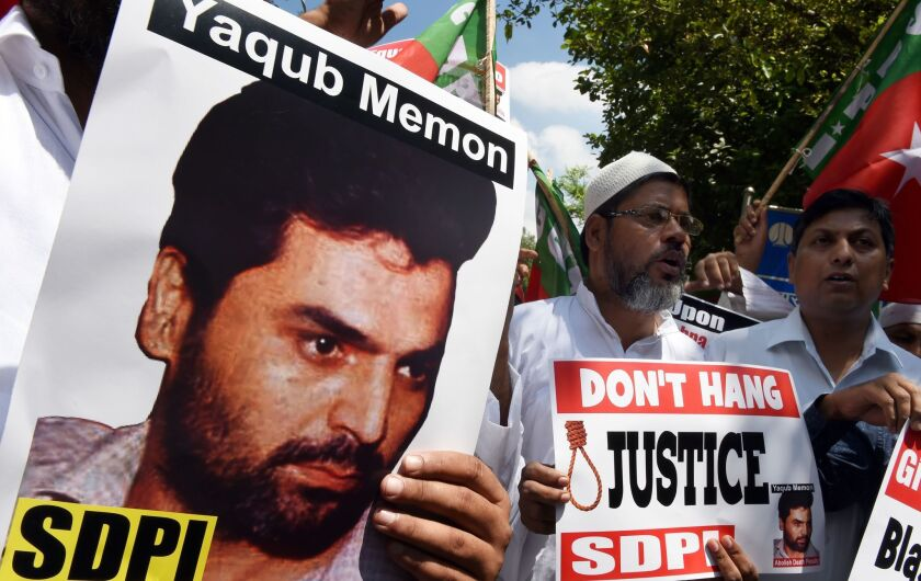 Protesters in New Delhi shout slogans during a July 27 protest against the death sentence for convicted bomb plotter Yakub Memon.