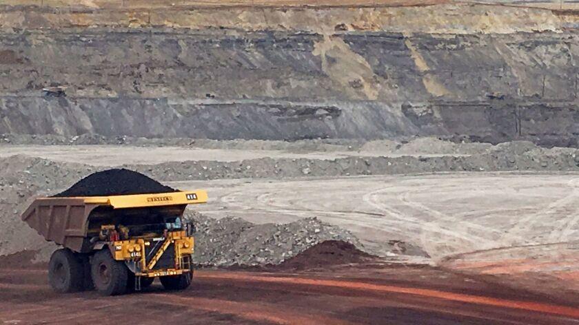 A dump truck hauls coal at Contura Energy's Eagle Butte Mine near Gillette, Wyo. on March 28.