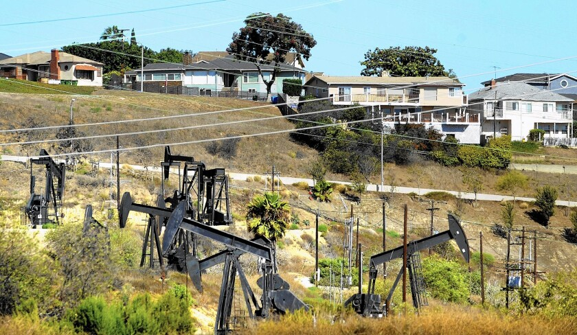 Oil wells near homes in Baldwin Hills