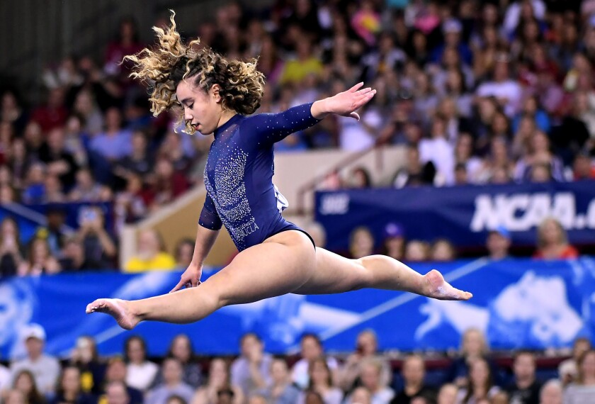 UCLA's Katelyn Ohashi competes in the floor exercise at the NCAA Gymnastics Championships in April.
