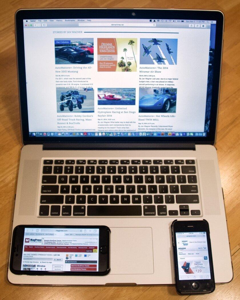 Computers and smartphones online.