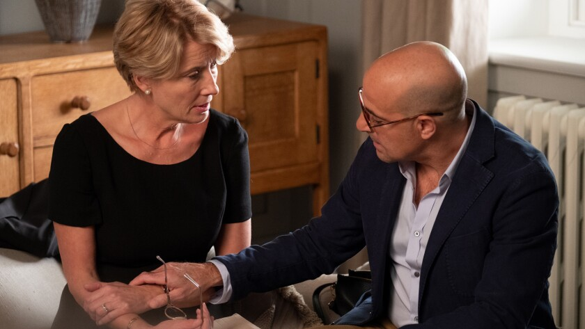 "Emma Thompson and Stanley Tucci in the movie ""The Children Act."""