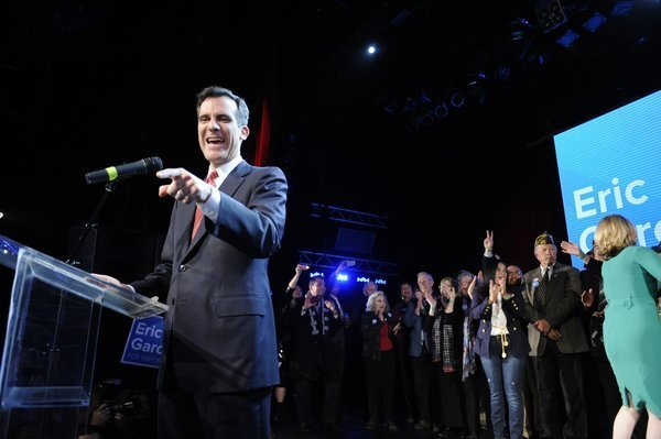 Eric Garcetti points to the crowd during his election-night speech at the Avalon on Vine Street.