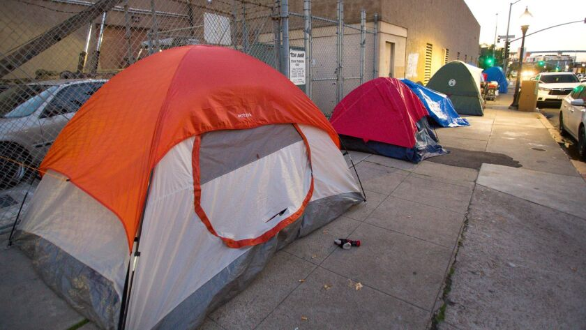 SAN DIEGO, CA: JANUARY 27, 2017 | East Village where many homeless individuals have setup tents. |