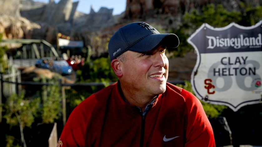 Coach Clay Helton and the USC team enjoyed a day at Disneyland on Tuesday.
