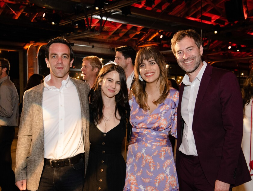 B.J. Novak, from left, Zara Lisbon, Natalie Morales and Mark Duplass at the Young Literati's Toast event to benefit the Los Angeles Public Library. The event was at City Market Social House in Los Angeles on Saturday.