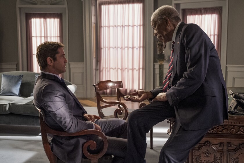 "Gerard Butler, left, and Morgan Freeman in a scene from Lionsgate and Millenium's ""Angel Has Fallen."""