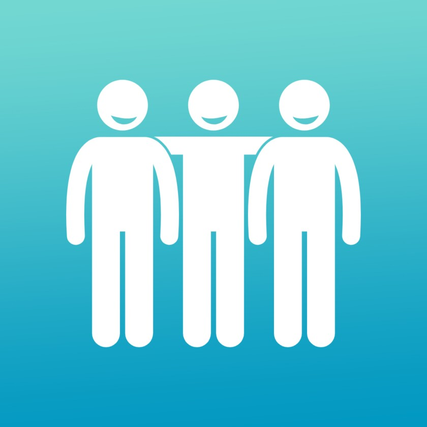 Pictogram of three people smiling