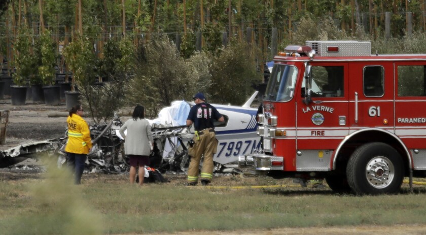 LA VERNE, CA -- OCTOBER 01, 2018: A single-engine plane crashed Monday at Brackett Field Airport in