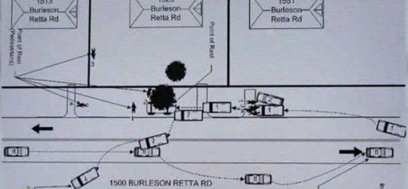 A diagram of the Texas accident scene where a teen driving drunk slammed into several cars, killing four people.