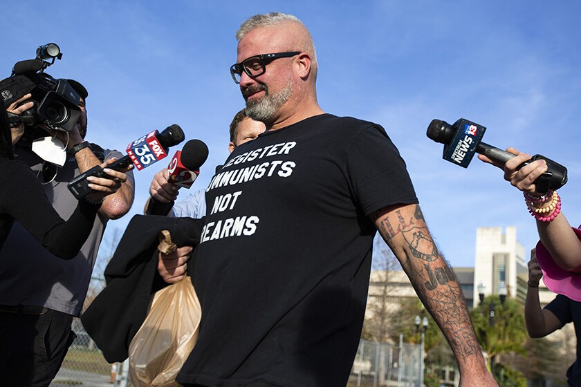Proud Boys organizer Joseph Biggs, 37, leaves a courthouse in Orlando, Fla., after a hearing Wednesday.