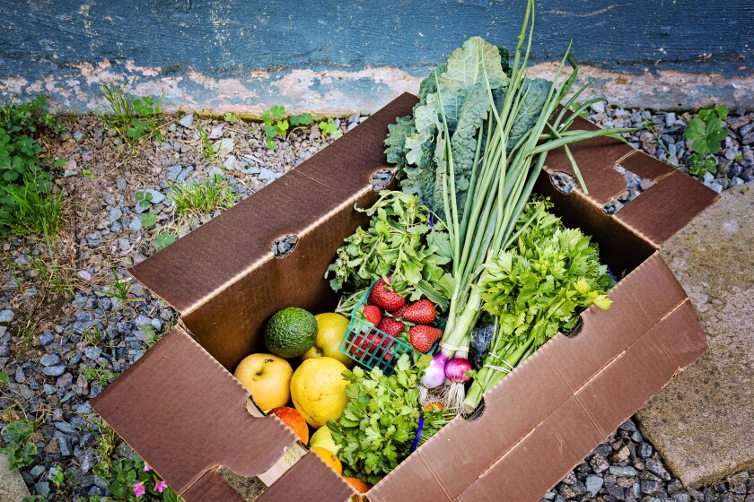 This box from Sage Mountain Farms offers an assortment of fruits and vegetables.