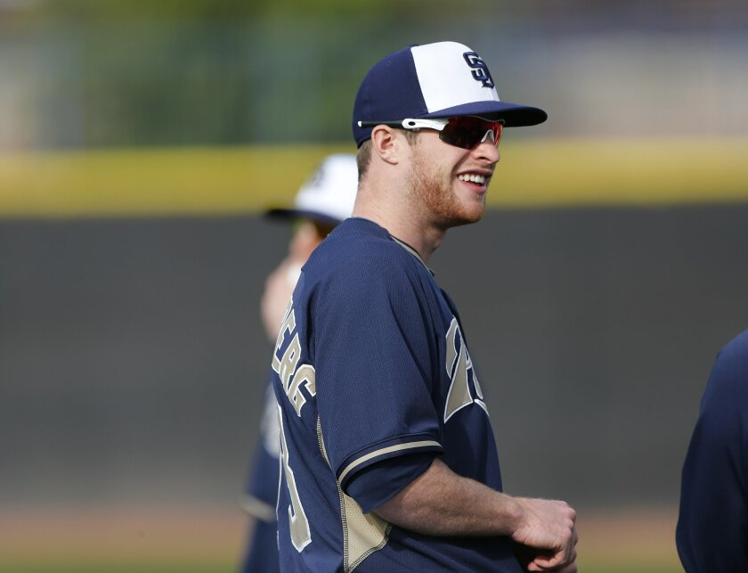 Infielder Cory Spangenberg at the Padres spring training.