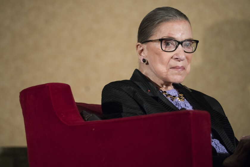 Supreme Court Justice Ruth Bader Ginsburg, Friday, Aug. 19, 2016.