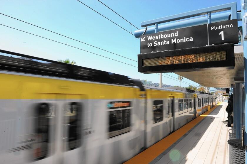 The Expo Line train runs to Santa Monica.