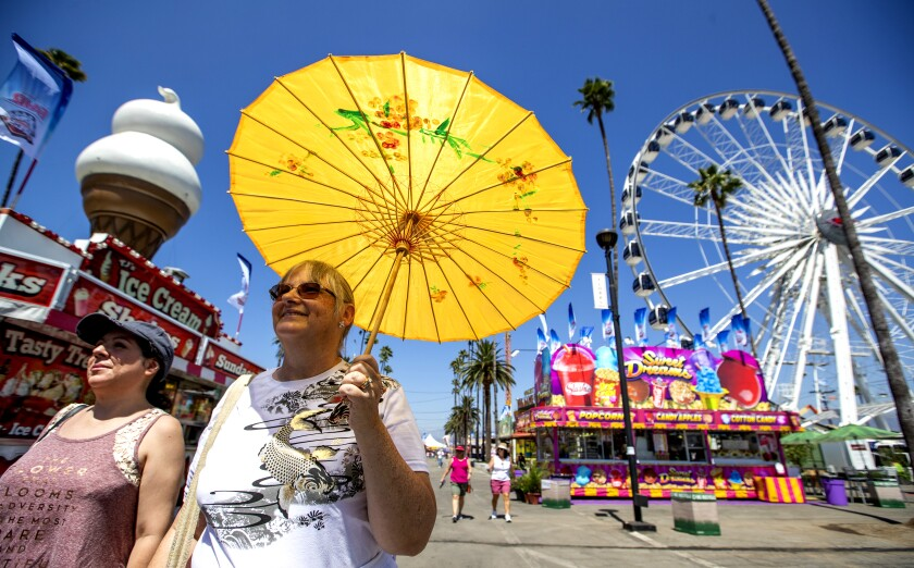 Danica Paz, left, of Sherman Oaks, and Amy Barer, of Los Angeles, attend the Los Angeles County Fair in 2018.