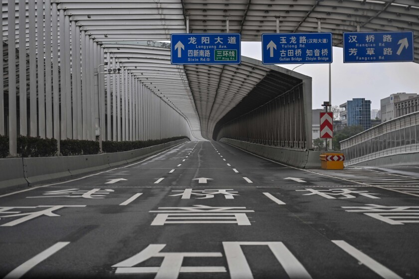 An empty road in Wuhan in China's central Hubei province.