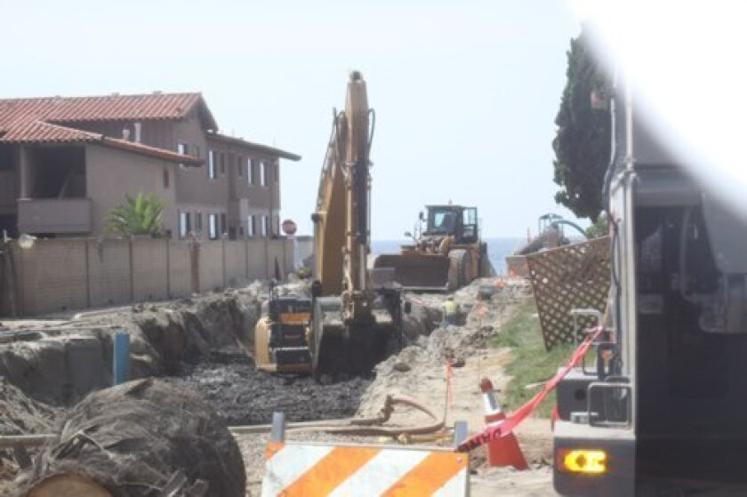 Construction starts at the westernmost end of Avenida de la Playa and moves east, to repair the storm drain and the sewer and water pipes.