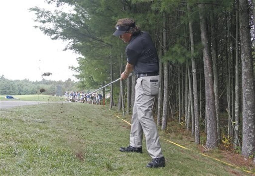 Phil Mickelson hits his second shot on the 10th hole during the second round of the Deutsche Bank Championship golf tournament in Norton, Mass., Saturday, Aug. 31, 2013. (AP Photo/Stew Milne)