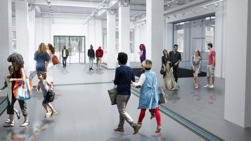A rendering of the space that will be occupied by the Main Museum in downtown Los Angeles, in a storefront space that is being renovated by architect Tom Wiscombe.