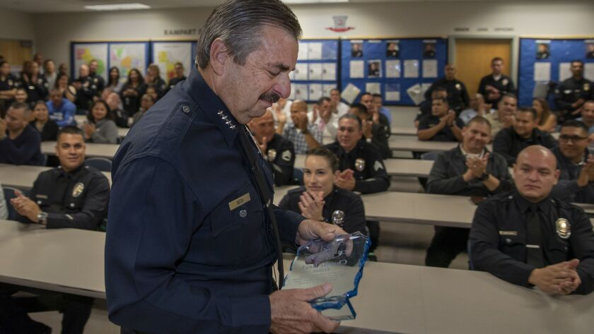 LOS ANGELES, CALIF. -- THURSDAY, MAY 24, 2018: LAPD Chief Charlie Beck, who is retiring June 27, cl
