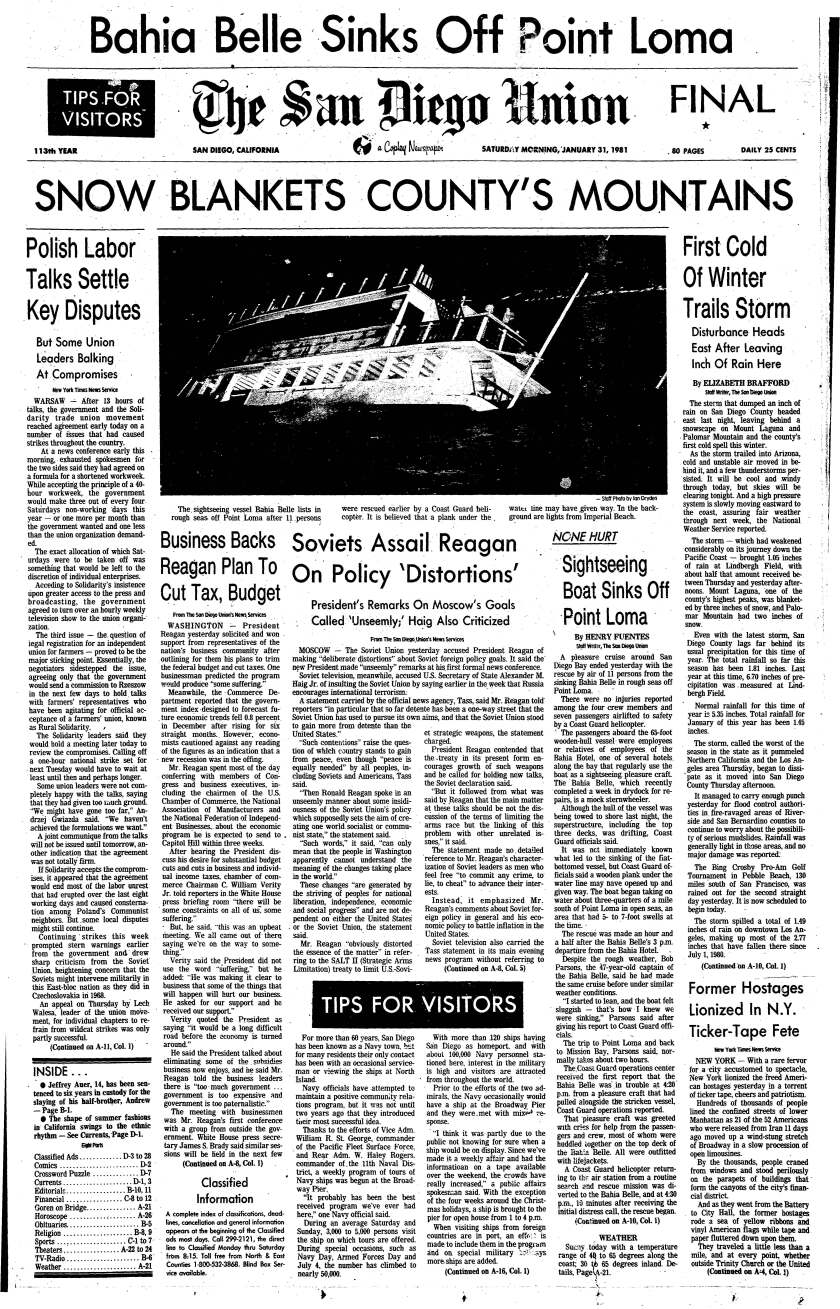 Jan. 31, 1981 Union front page