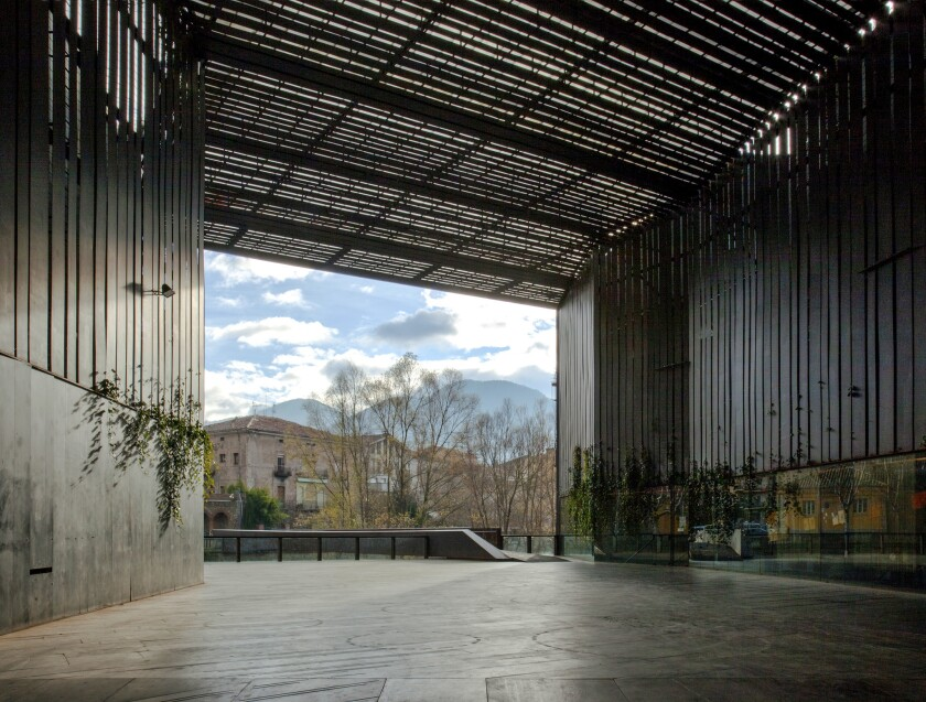 A covered public square by RCR Arquitectes in Ripoll, Spain, 2011.