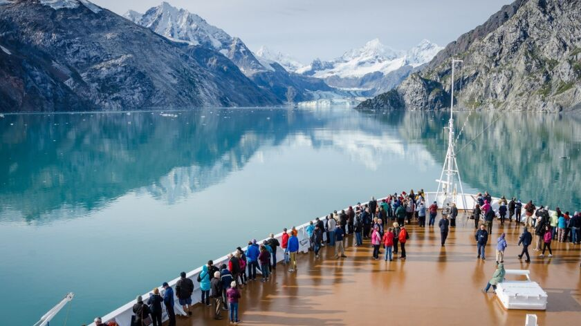 GLACIER BAY - ALASKA SEPTEMBER 11, 2016: Cruise ship passengers get a close-up view of the majestic