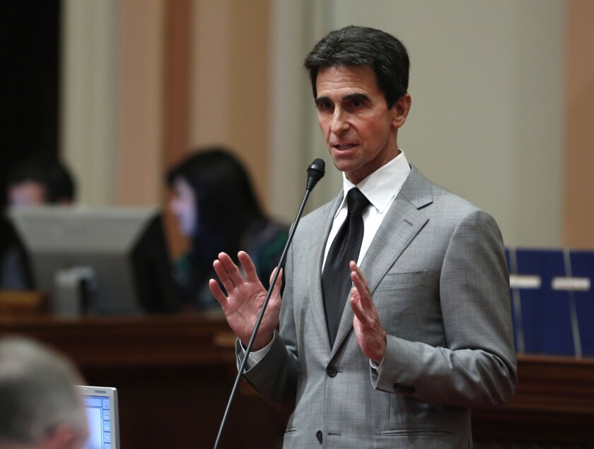 State Sen. Mark Leno (D-San Francisco), pictured during a recent floor debate, has proposed raising the state minimum wage to $13 per hour by 2017.
