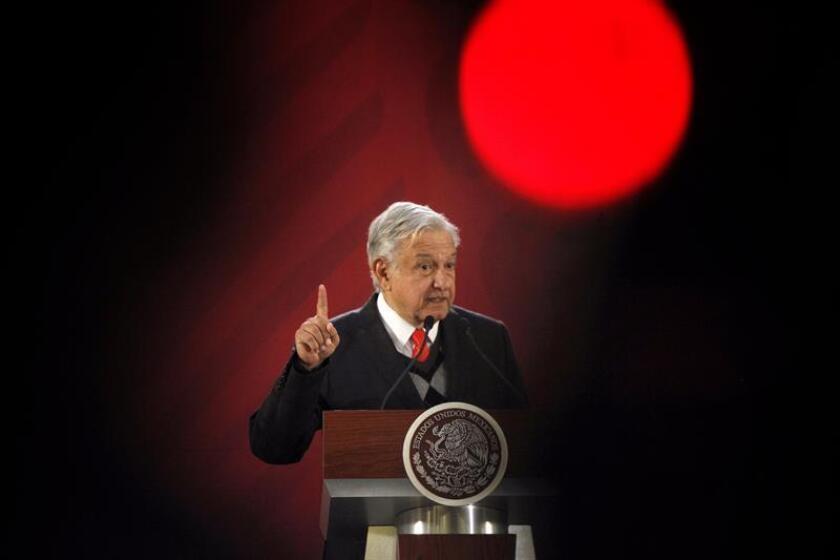 El presidente de México, Andrés Manuel López Obrador, hablaen rueda de prensa en Ciudad de México.