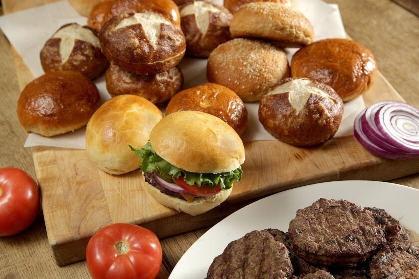 WEST HOLLYWOOD, CA., JUNE 7, 2018--Recipes for 3 different homemade hamburger buns: brioche, pretzel