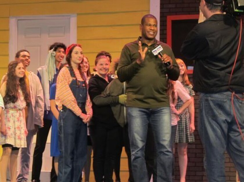 """Fifteen cast members of """"Avenue Q —School Edition"""" were recently featured on KUSI """"Good Morning San Diego"""" with reporter Brad Perry on location at the CCA Proscenium Theatre."""